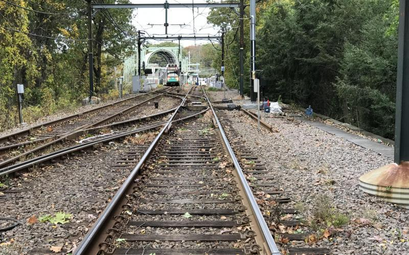 Track outside of Riverside station on the Green Line D branch