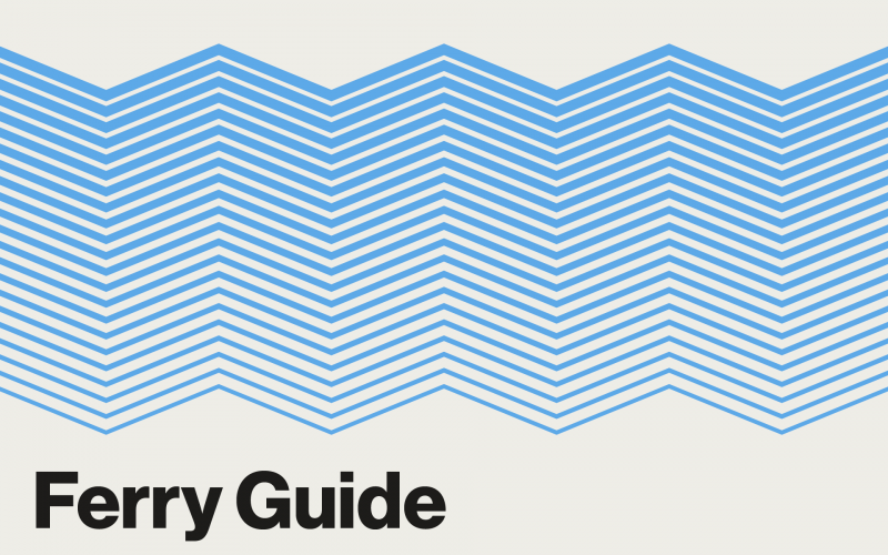 Clickable graphic resembling blue waves. Text: Ferry Guide.