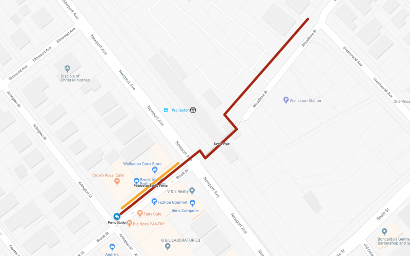Screenshot of a map showing the temporary sewer pipe