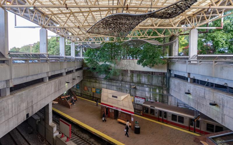 Birds-eye view of Quincy Adams platform