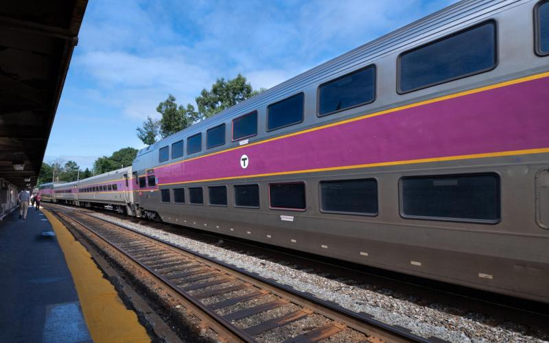A Commuter Rail train departs Aburndale Station.