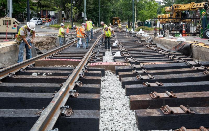Crews work on the Green Line C branch tracks