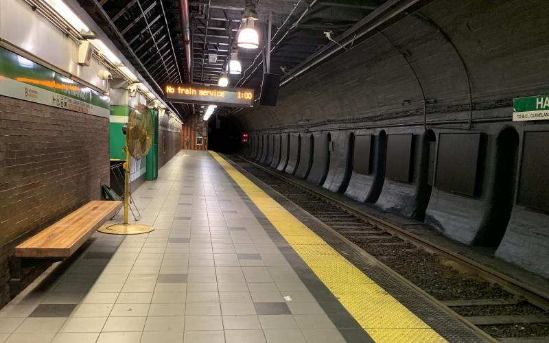 The newly cleaned Haymarket platform.