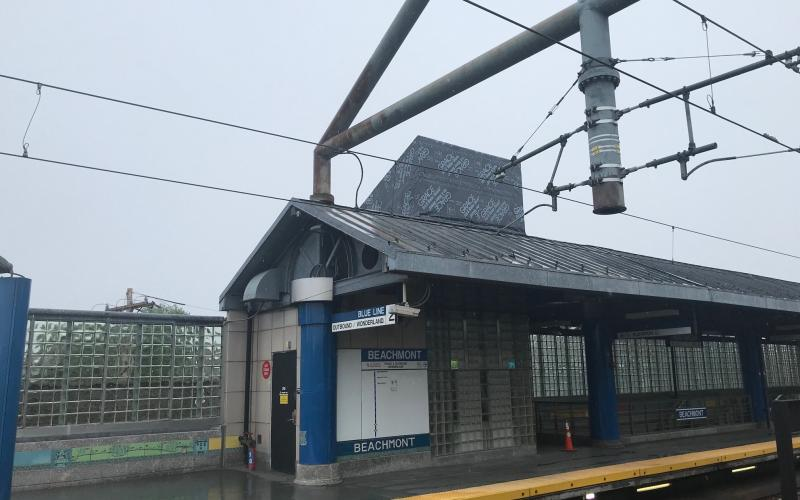 The new elevator at Beachmont Station as seen from the outbound platform