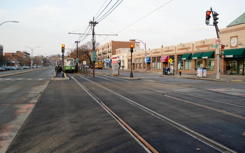 A Green Line train at Harvard Ave on the B branch, after upgrades were done, with new asphalt and track