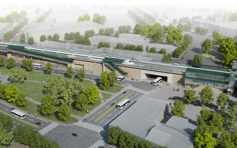 A rendering shows what Winchester Station will look like after accessibility improvements, as viewed from the inbound side