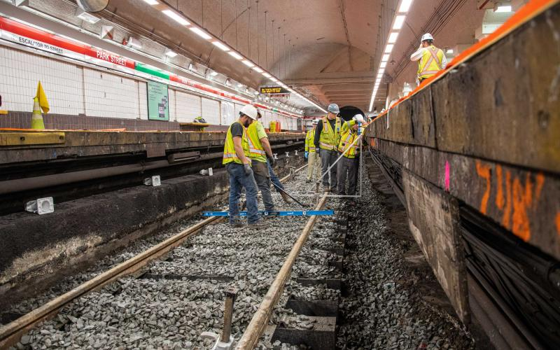 Crew members replace track on Park Street's southbound side during the December 13 – 15, 2019, Red Line weekend shutdown