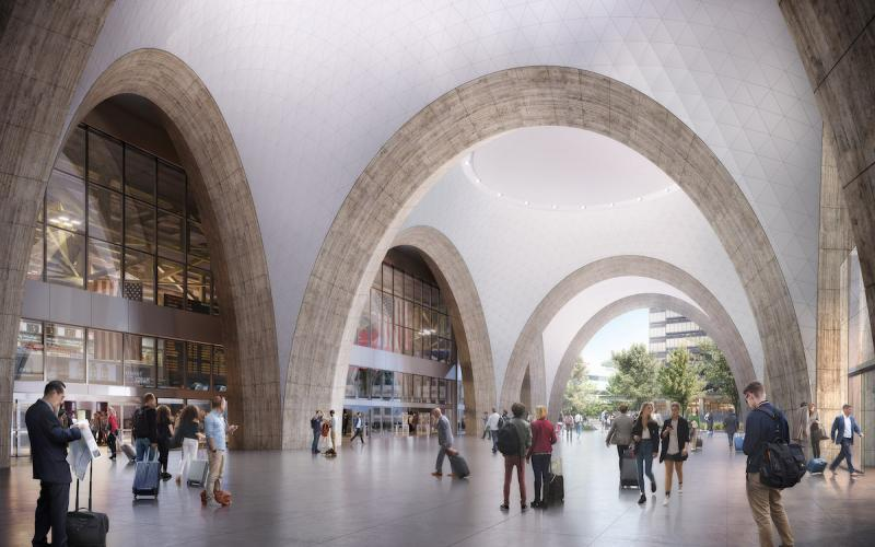 A rendering shows what the new Commuter Rail concourse will look like at South Station