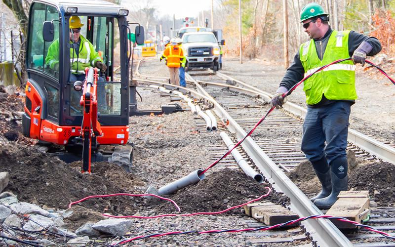 Excavation and and installation of track-signal communication line near Walpole Station on the Franklin Line (January 5, 2020)