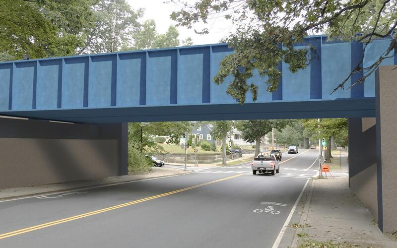 A rendering of the proposed changes to the Lynn Fells Parkway bridge on the Haverhill Line of the Commuter Rail