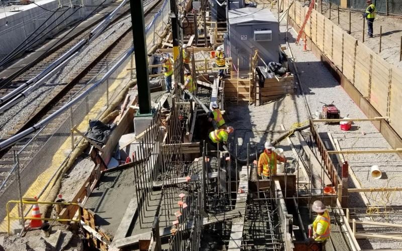 A crew works on renovations at Brookline Hills Station (March 2020)