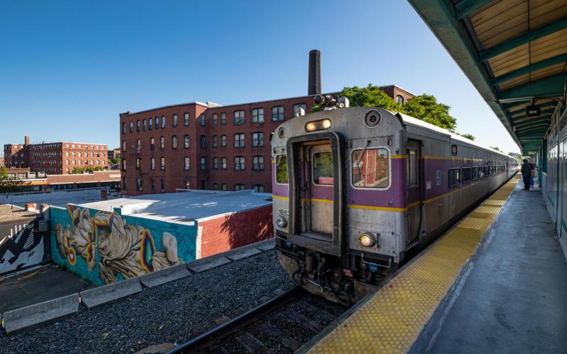 Commuter Rail train approaching platform at Central Square - Lynn Station