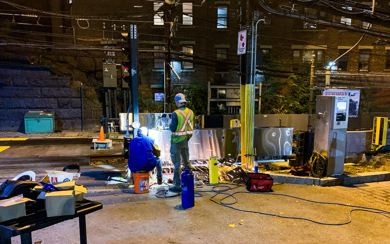 Crews work on the D Branch tracks outside of Fenway as part of the Green Line Transformation project (October 2020)