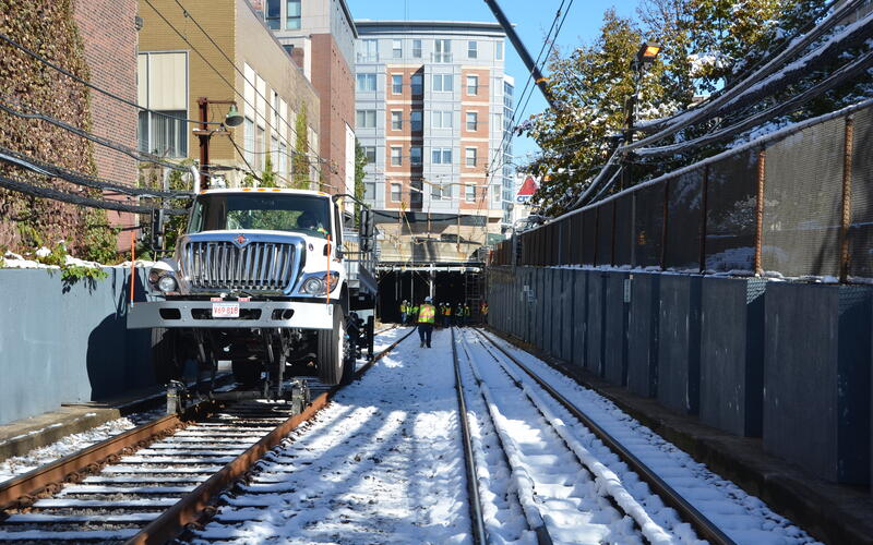 A crew works on the Fenway Portal Flood Protection Project on the Green Line D (November 2020)