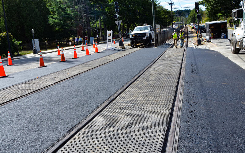 A crew works on B Branch track and intersection upgrades as part of the Green Line Transformation (September 2020)