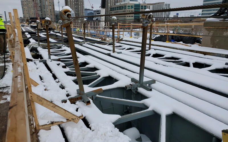 Lechmere Viaduct Rehabilitation construction, covered in snow