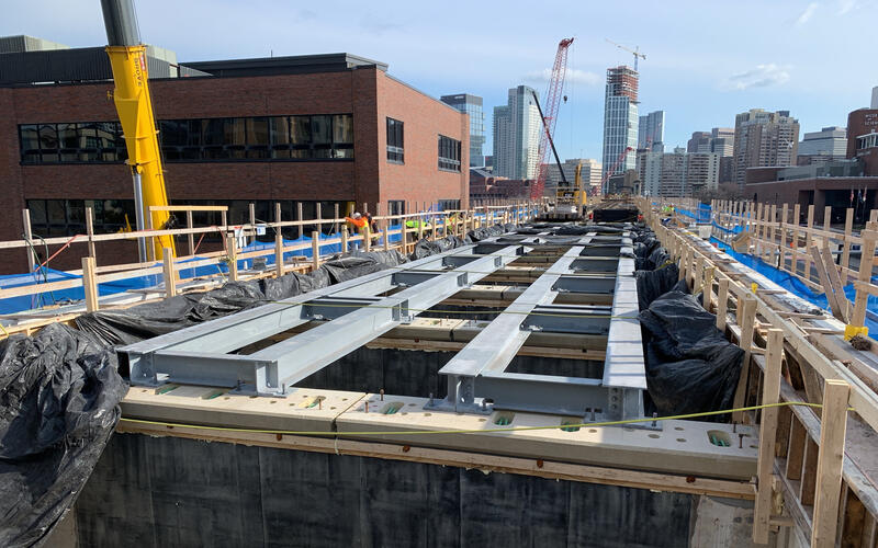 Construction crews work on the Lechmere Viaduct Rehabilitation project