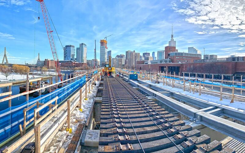 Crews work on rail ties along the Lechmere Viaduct (January 15, 2021)