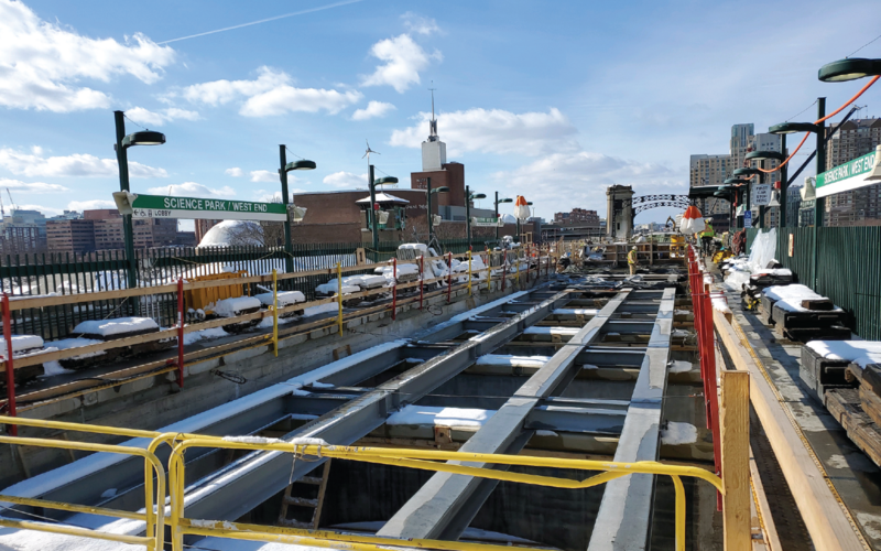 Steel beams to support the new tracks have been installed on the Lechmere Viaduct