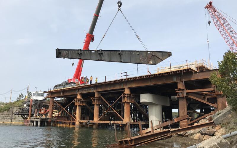 Bascule steel girders were removed