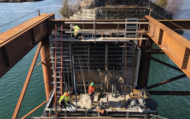 The back and front walls of the pier under construction