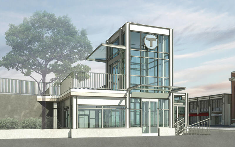 Rendering of Symphony Towers West elevator and entrance to Symphony Station
