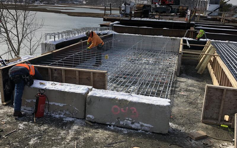 Reinforcing for the abutment approach slabs being installed