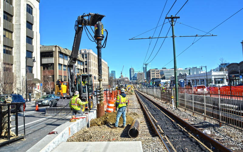 Crews drill shafts on Commonwealth Ave near St. Paul Street for B Branch Station Consolidation
