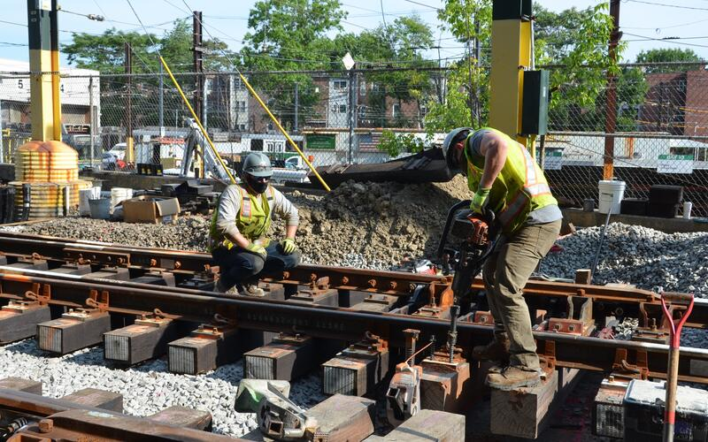 Crews worked on the D Branch Track and Signal replacement in summer 2020, before work was paused for the season.