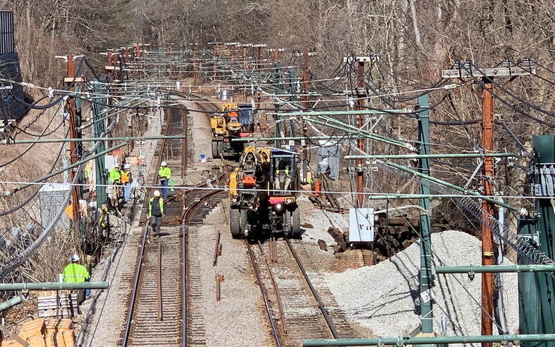 Crews work on the D Branch tracks as part of the D Branch Track and Signal Replacement project (March 2021)