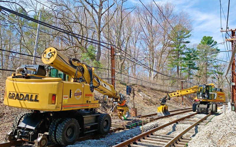 Crews replace rail ties on the Green Line D as part of the D Branch Track and Signal Replacement