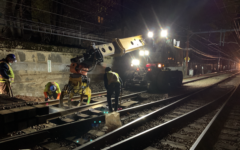 A crew replaces rail ties near Reservoir Station as part of the D Branch Track and Signal Replacement project