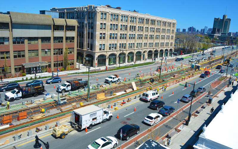 An aerial view of crews working on the new Amory St Station as part of the Green Line B Branch Consolidation
