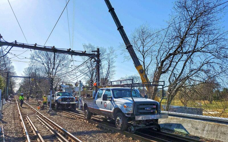 Crews work on the D Branch Track and Signal Replacement project (April 2021)