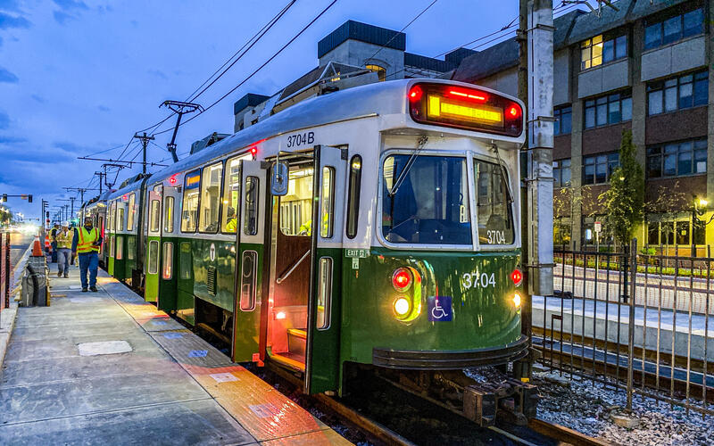 Train testing is taking place for the return to service on the Green Line B