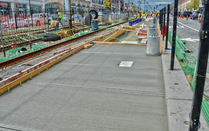 New concrete slabs are being poured for the future Amory St Station