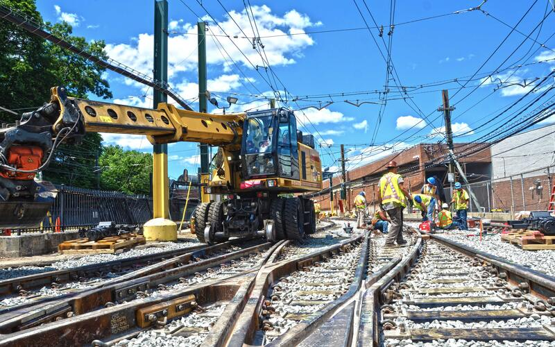 Crews work on tracks during a Green Line D Branch closure.