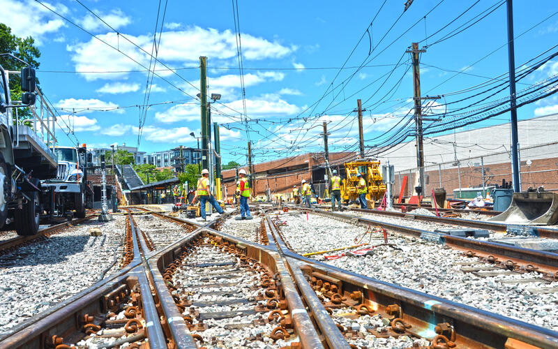Crews work on special trackwork at the Reservoir Yard on the Green Line D Branch