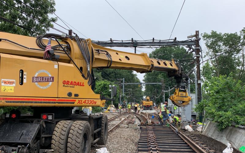 Crews work on the Green Line D Branch between Riverside and Fenway.