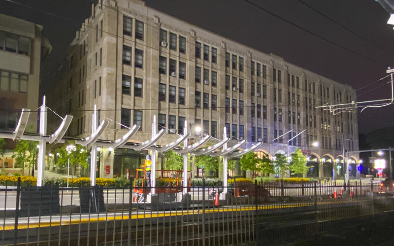 Canopy framework installation continues at the new Amory St Station as part of the B Branch Station Consolidation Project