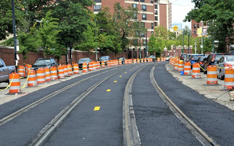 New track and pavement on Huntington Avenue