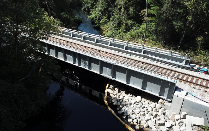 An aerial view of the new Assonet River bridge