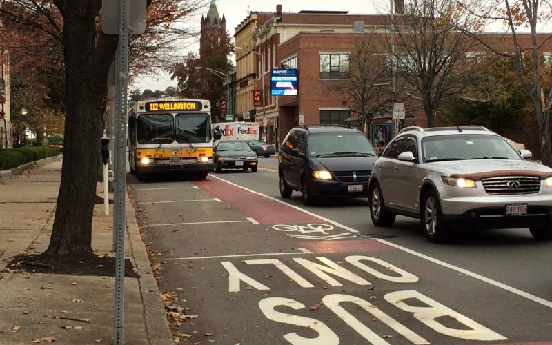 Bus lane on Broadway in Everett