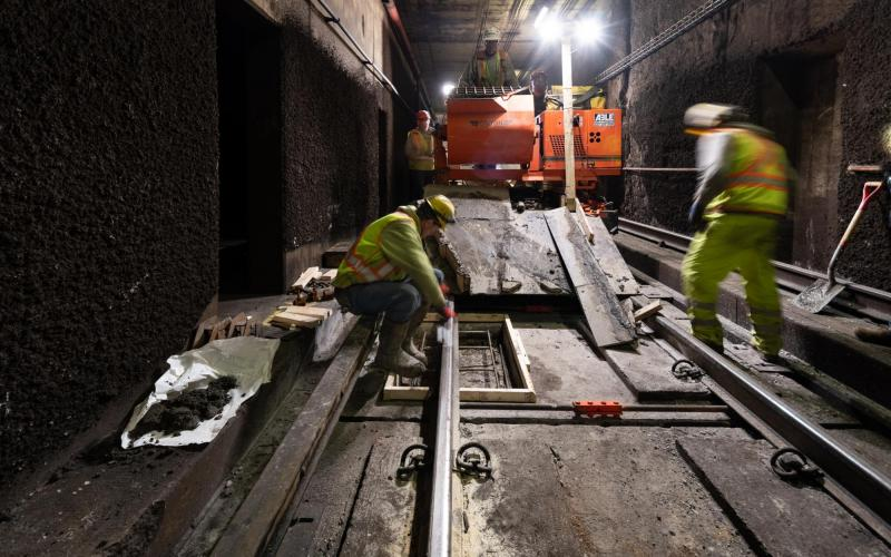 A crew places new rebar in the subway tunnel near Alewife, part of the Red Line floating slab maintenannce.