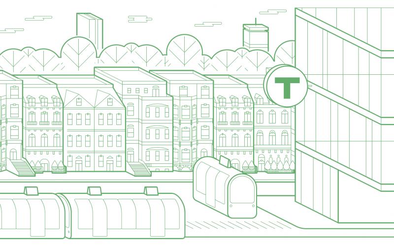Illustration of the Boston city scape