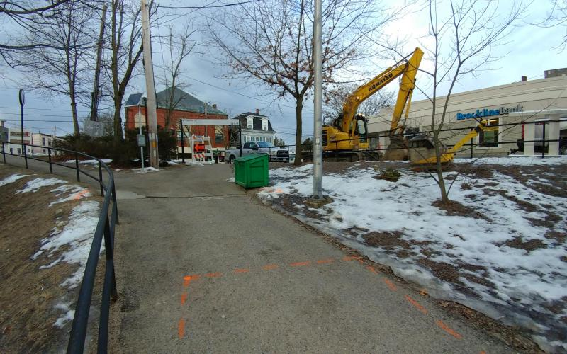 Getting ready to start construction of a temporary ramp at Newton Highlands