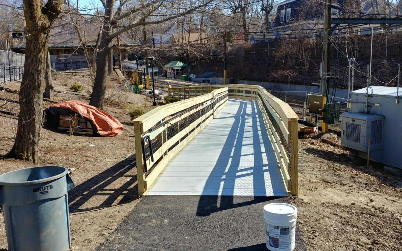 Finished ramp as viewed from the Walnut Street station entrance