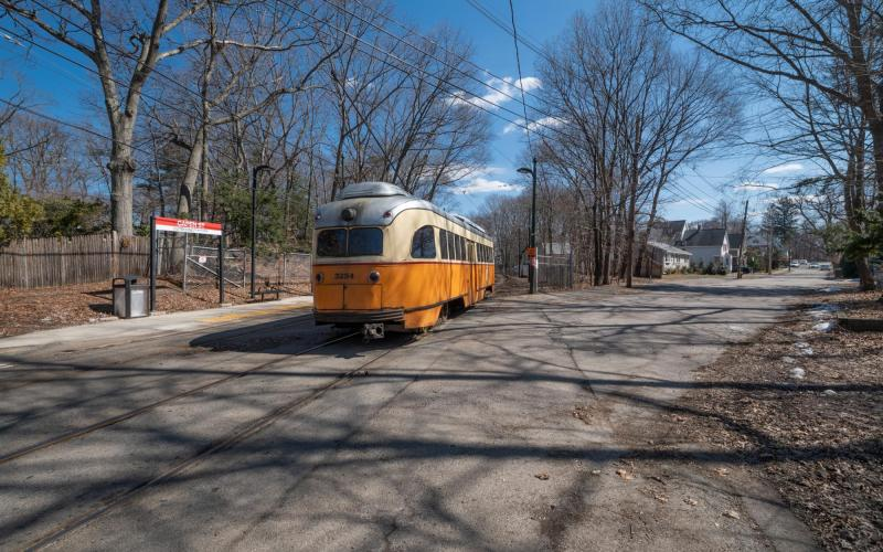 A Mattapan Line Trolley on the tracks near Capen Street Station