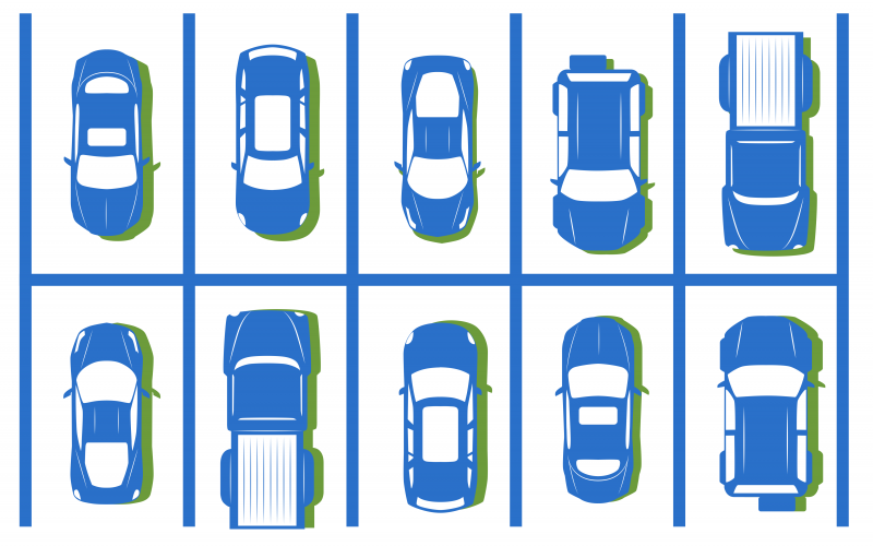 Illustration of cars parking in a lot, aerial view