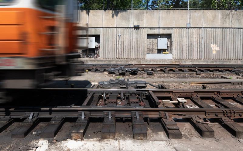 Orange Line train on tracks